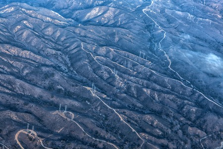Aerial landscape photography: Whimsical pattern of mountains in Southern California