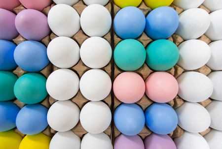 Colorful Easter egg in egg crate background pattern, flat lay view on a wide angle Reklamní fotografie