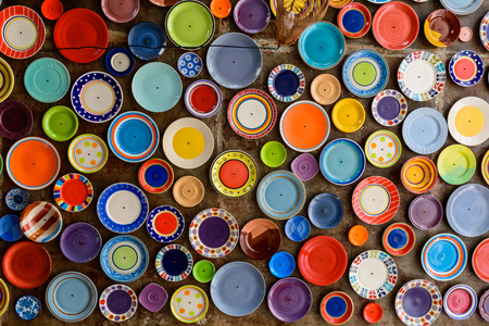 ceiling plate: colorful dishes on the ceiling.