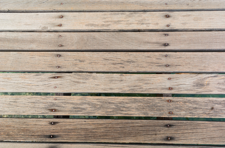 yellow tacks: Piece of wood lined the wood bridge. Stock Photo