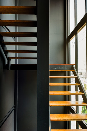Modern staircase in office that docorate loft style in Thailand