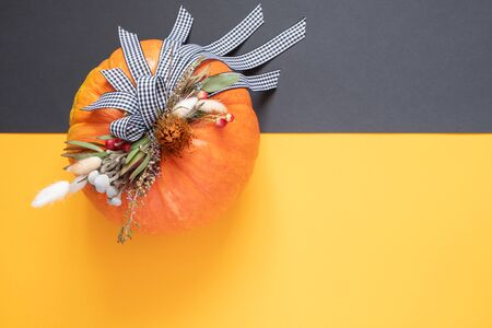 Halloween or Thanksgiving background. Autumn composition in pumpkin with ribbons and dried flowers on duo tone background with copy space.