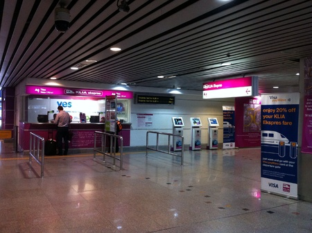 kl: KLIA Express Ticket Counter at KL Sentral Malaysia Stock Photo