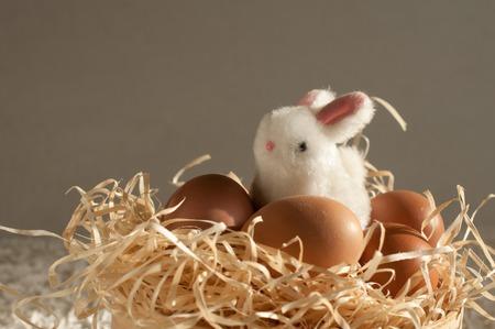 Easter rabbit inside a sieve full of easter eggs on rustic wooden