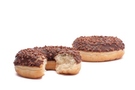 Two chocolate donut is broken half cut donut peach Stock Photo