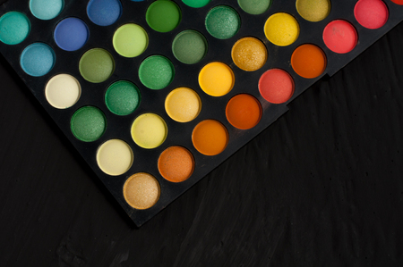 eyemakeup: Palette of professional colorful eye shadows.