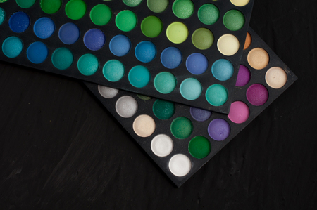 Palette of professional colorful eye shadows.
