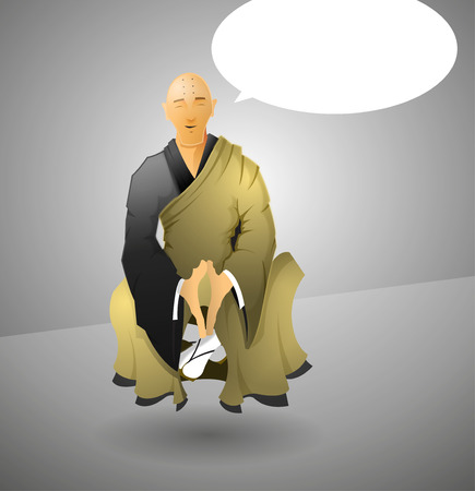 adherents: A Buddhist Monk meditating in the lotus position.