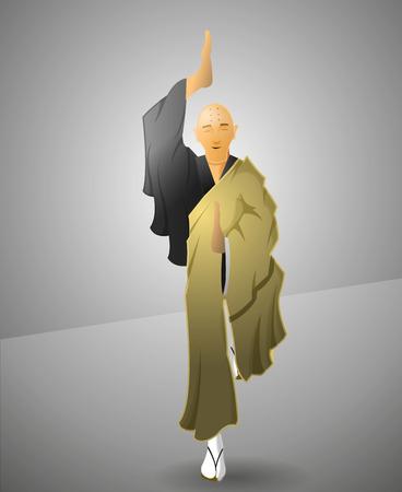 adherents: Buddhist monk exercicing balance in harmony. Illustration
