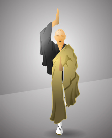 adherents: Buddhist monk exercicing balance. Illustration