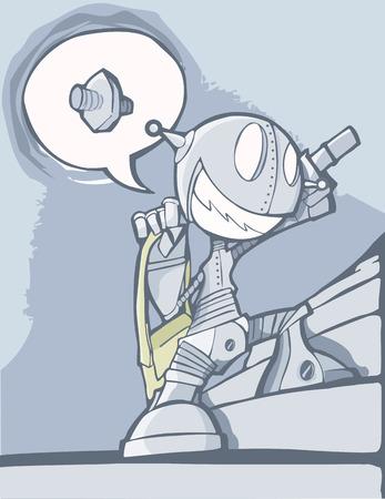 imaginary dialogue: Un robot muy entusiasta subir las escaleras con una bolsa verde.