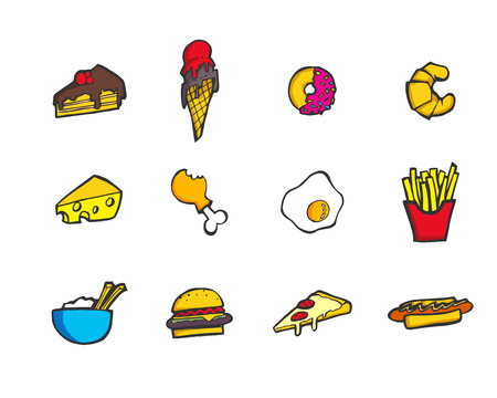 Set of colorful hand drawn cartoon style food and desserts icon. Illustration