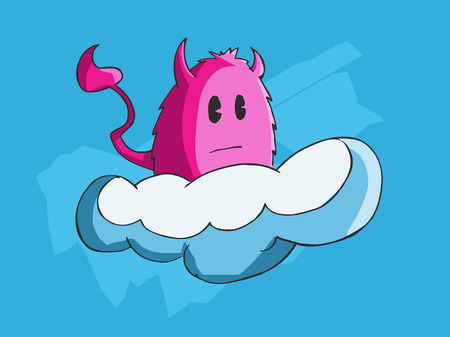 Vector illustration of a monster riding a cloud