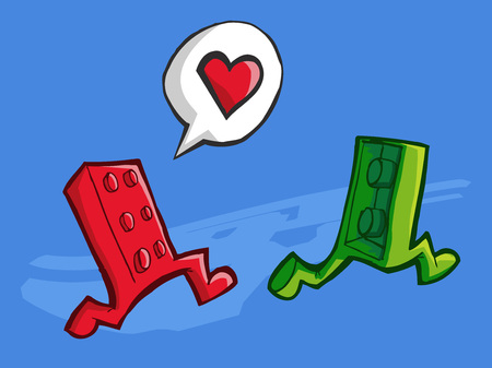 Vector illustration of two bricks lego pieces running. Love concept. 矢量图片