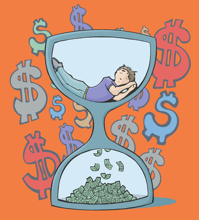 Colorful vector illustration of a man sleeping inside an hourglass, at the bottom is falling money. With dollar signs on the orange background.