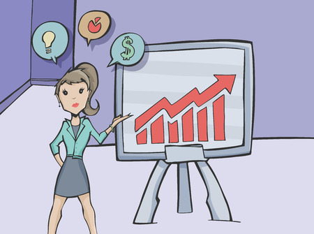 briefing: Vector illustration of a business women doing a presentation in an office, briefing to the agency showing charts in a blackboard.