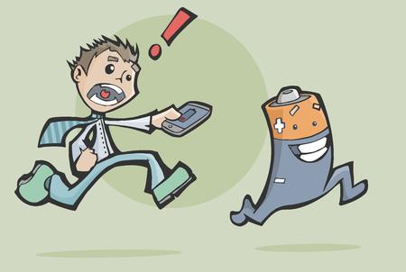 cable telefono: Vector ilustración de un hombre preocupado persiguiendo una batería feliz para cargar su teléfono móvil