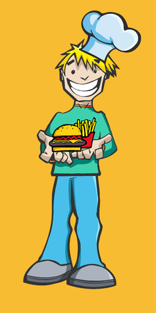 Happy Caucasian Chef presenting a plateful of hamburger and french fries Illustration