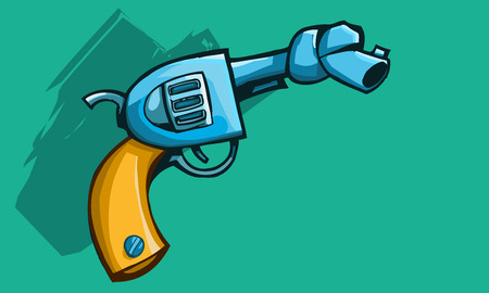 disarm: Vector illustration of a old revolver gun or pistol barrel tied With