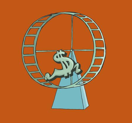 Dollar sign running on a hamster wheel. finance Concept. Illustration