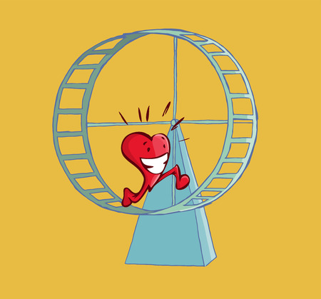Happy heart running on a hamster wheel. Romance concept. Illustration