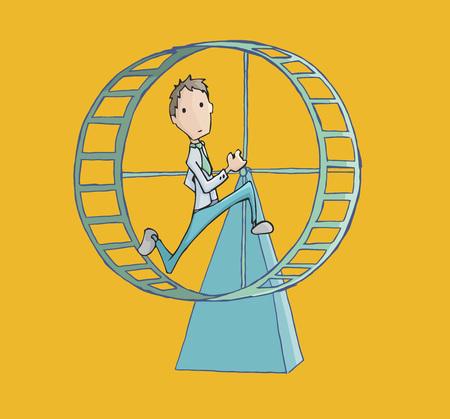 Business man running in a hamster wheel