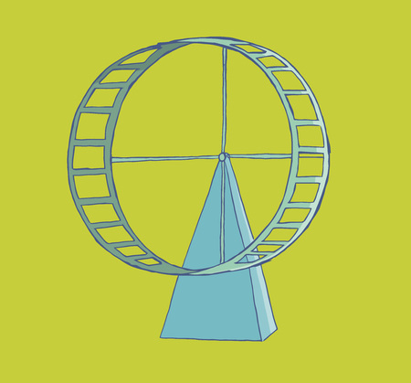Hamster wheel isolated with green background. Illustration