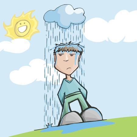 Mann mit Pech, unter einer regnerischen Wolke