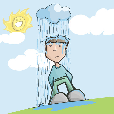 Man with bad luck, under a rainy cloud Illustration