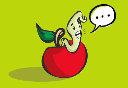 Beautiful illustration of a happy worm coming out of a hole in an apple