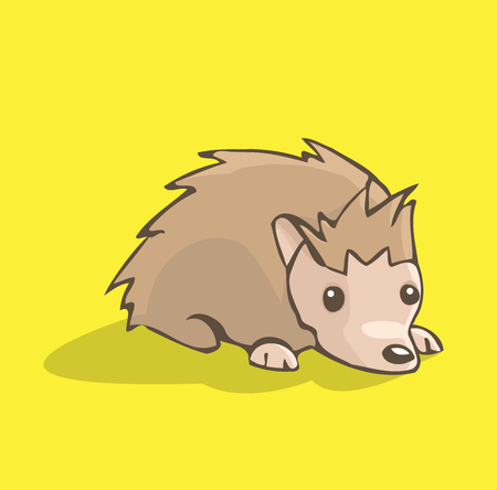 Vector illustration of a cute little hedgehog resting on its paws