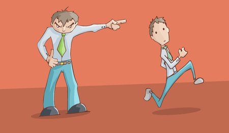 Angry man upset pointing to the left and his employee running.