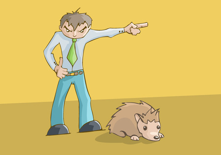 Angry man upset pointing to the left. cute hamster resting.