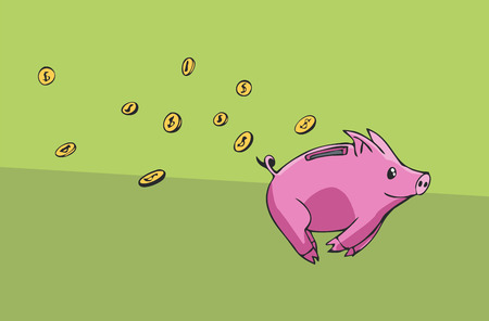 passive income: Piggy bank running away lossing his coins
