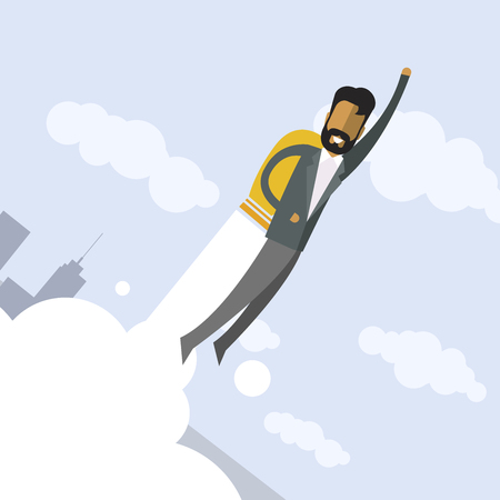 Happy indian businessman flying on jetpacks to his goal. Flying above the city. Successful people in business suit.