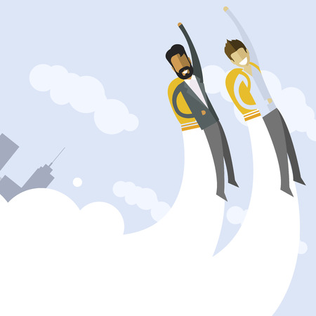 Happy indian and white businessman flying on jetpacks to their goals. Flying above the city. Successful people in business suit.