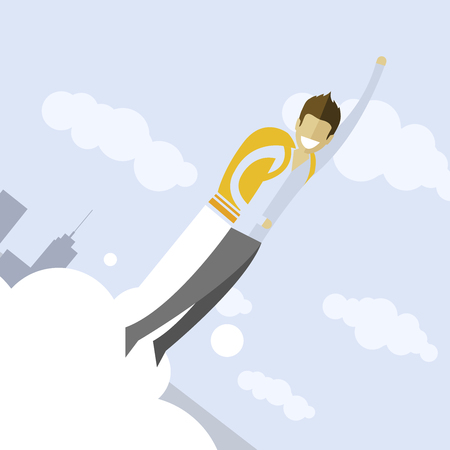 Happy businessman flying on jetpacks to his goal. Flying above the city. Successful people in business suit.