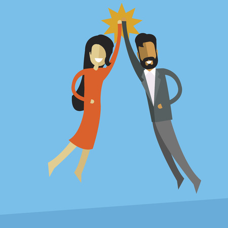 white business woman and indian business men doing high five. Teamwork and success concept. Illustration
