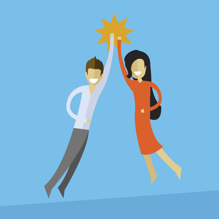 Business man and woman doing high five. Teamwork and success concept. Illustration