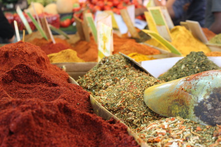 Colorful spices in the market