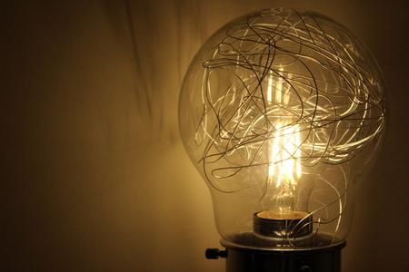 Light bulb in the dark, light in the dark