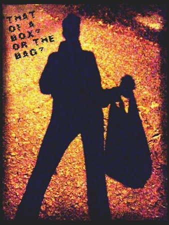 A silhouette of a man carrying a plastic bag