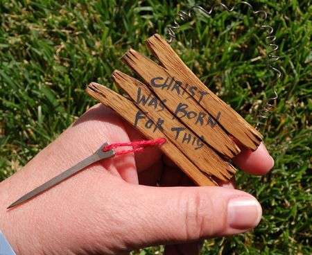 Homemade symbol of a nail as a reminder of what Christ was born for.  Great for religious uses.