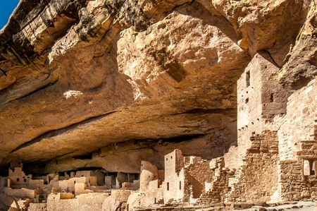 Cliff Palace, cliff dwelling habitat ruins of the Anasazis Indians in Mesa Verde National Park
