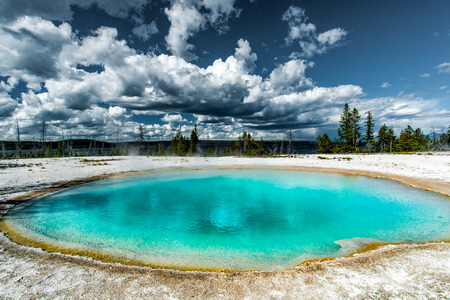 Basin of colorful hot water and sulfur emanation in the area of West Thumb Geyser Basin, Yellowstone National Park