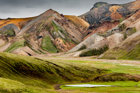 A pond, green grass and the volcanic colors of the Landmannalaugar mountains