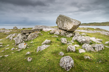 A rock facing the sea on the coast of Connemara, Ireland 写真素材