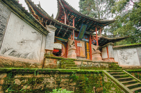 Entrance of a Taoist temple on the sacred mountain of Weibao Shan in Yunnan, China Stock Photo