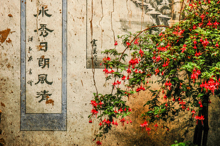 Red flowers and ideograms painted on a wall of a Taoist temple on the sacred mountain of Weibao Shan in Yunnan, China Editorial