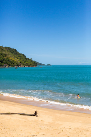 Beautiful day, blue sky, clean beach and rain forest in the back. Paraty, Rio de Janeiro, Brazil, South America Stock Photo